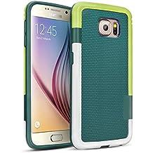 Galaxy S6 Funda - [Ultra Hybrid] HanLuckyStars Funda Carcasa Case TPU Matte Shell Exact Bumper Tope Shock Protección Gota Anti-Arañazos, Choque Absorción Borrar Espalda para Samsung Galaxy S6 (Verde)