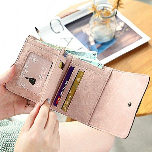 Woolala Elegantee Donna Papillon Breve Borsa A Portafoglio Multi - Card Slot Portafoglio Compatta Tasca Portafogli Blu Rosso