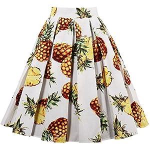 Eudolah - Falda Plisada para Mujer, Estilo Vintage, diseño Floral Beige Pineapple XX-Large