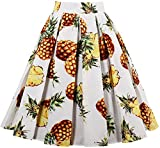 EUDOLAH Damen Kleid Vintage Sommerrock Knielang Faltenrock Stoffdreuck Ananas Gr.M
