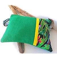 Bolso Mujer de mano, estilo etnico. tropical. con tela de saco de cafe rustico verde y tropical clutch cartera de mano