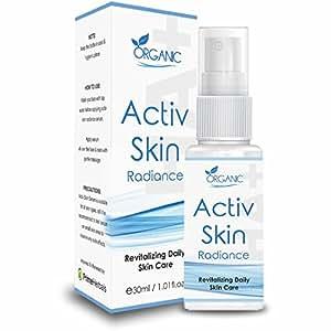 Activ Skin Radiance with Hyaluronic Acid, Aloe Vera, Vitamin C, Vitamin E, Collagen Polysaccharide-Boosting Collagen Synthesis, Skin Lightening, Reduce Fine Lines & Wrinkles, Removes Dark Spots, Skin Toner, Natural for Healthy Glowing Skin - 30ml
