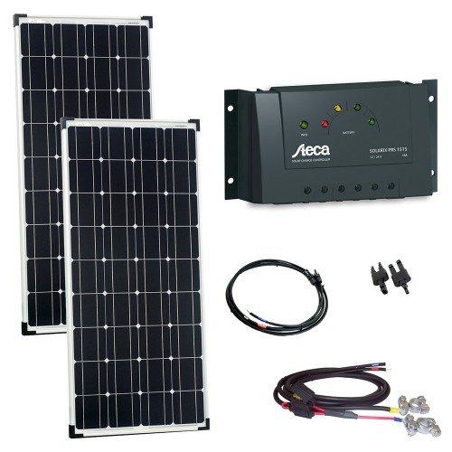 Offgridtec 002590 200 Watt Solaranlage 12V - 2 x 100W Solarpanel, Steca Laderegler, Kabel und Stecker