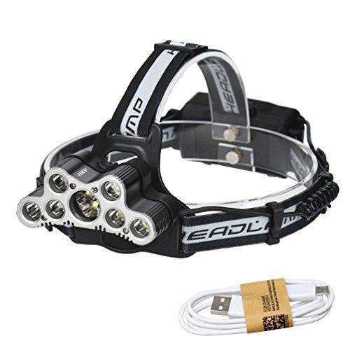 RUNACC 9 LEDs Phare USB Rechargeable LED Projecteur Phares extérieurs lumineux avec sifflet et câble USB, IPX-6 Grade étanche, Lumière blanche froide