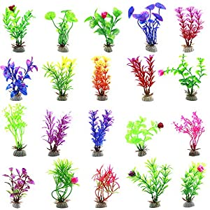 20pcs Aquarium Artificial Plants, Plastic Aquatic Plants Fish Tank Decorations, Vivid Underwater Simulation Grass Landscape Ornament