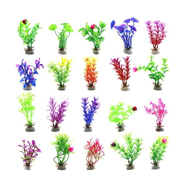20pcs Aquarium Artificial Plants, Plastic Aquatic Plants Fish Tank Decorations, Vivid Underwater Simulation Grass…
