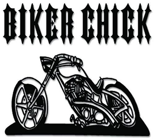 Biker Chick Chopper Motorcycle - [6 inch/15 cm Wide] - Aufkleber von SUPERSTICKI® für Auto,Scheine,Lack,Motorrad,Wandtattoo,Tattoo Sticker, Autoaufkleber für alle glatten Flächen, Aufkleber ohne Hintergrund - Profi-Qualität