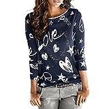 MujerManga larga Carta Impresión Camisa, WINWINTOM Casual Blusa Suelto Tops (XL, Armada)