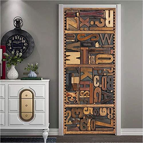 Kreative 3D Ansicht Niederländisch Brief Tür Aufkleber Vinyl wasserdichte Tür Dekor Wandbild Alphabet Kinderzimmer Tür Wandbild Abnehmbare (Innenraum Niederländisch Tür)