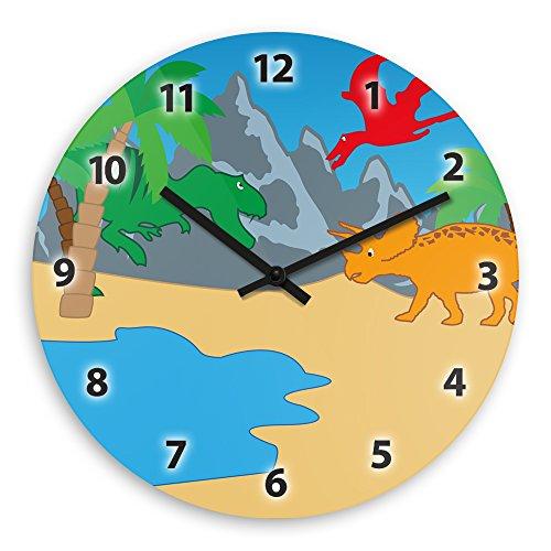 Wanduhr mit schönem Dinosaurier-Motiv für Kinder | Kinderzimmer-Uhr | Kinder-Uhr