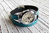 Armbanduhr Damen zum Wickeln Leder türkis, Geschenk
