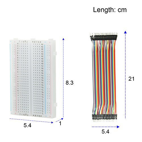 Jumper Wire con Breadboard – alleu Bj de 018 3pcs 400 Pin Breadboard y 40 x 20 Female de Female, male de Male, female de Male Cable ranuras Puentes para Arduino Raspberry Pi