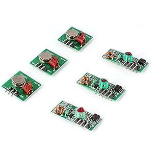 Aukru 3x 433 MHz Empfänger und Funk- Sende Modul Superregeneration Wireless Transmitter-Modul Empfängermodul Einbrecher Alarm 433M receiver module Burglar Alarm für Arduino Raspberry pi