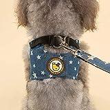 Segle Hundegeschirr, verstellbares Frontladegeschirr mit Leine, stylische Hundekleidung aus strapazierfähigem Jeansmaterial für Wanderungen, Joggen, Training