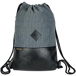 Turnbeutel / Gym Bag / Sportbeutel / Festival Bag / gefüttert / zwei Innentaschen / Kunstleder / grau schwarz gestreift