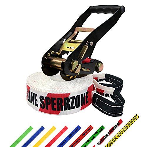 Slackline 15 m Freedom por BB Sport (2 t), Color:Slackline Sperrzone (zona prohibida). rojo/blanco