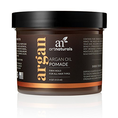 ArtNaturals Professional Argan Oil Pomade – (4 Oz / 113g) – Strong Hold for All Hair Types – Natural Hair Styling Formula – Men and Women – Made in USA – Thick, Straight and Curly Hair