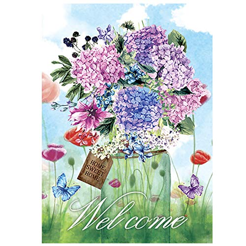 Morigins Spring Mason Jar House Flagge Floral Welcome Schmetterling Small-12.5
