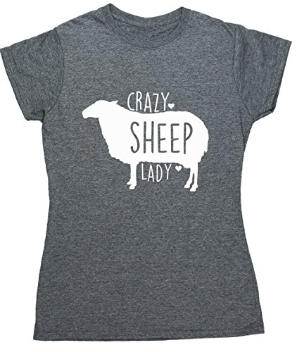 51dWw53DW6L BEST BUY #1HippoWarehouse Crazy sheep lady womens fitted short sleeve t shirt price Reviews uk