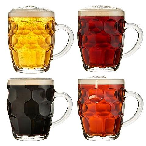 VonShef Beer Mug Tankard Stein Pint Glasses Set of 4