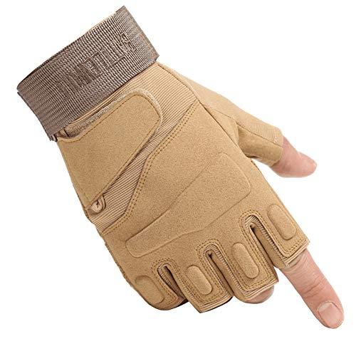 WEPOP Tattico Guanti Senza Dita Moto Militari Knuckle in Gomma Dura Mezze Dita Touch Screen Outdoor Sportivi Airsoft Palestra Ciclismo Arrampicata Camping per Uomo Donna Adolescent