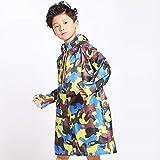 Guyuan Kinderregenmantel/männlich / Mädchen/Kind / Kindergarten/Baby-Poncho (Color : Camouflage Blue, Size : L)
