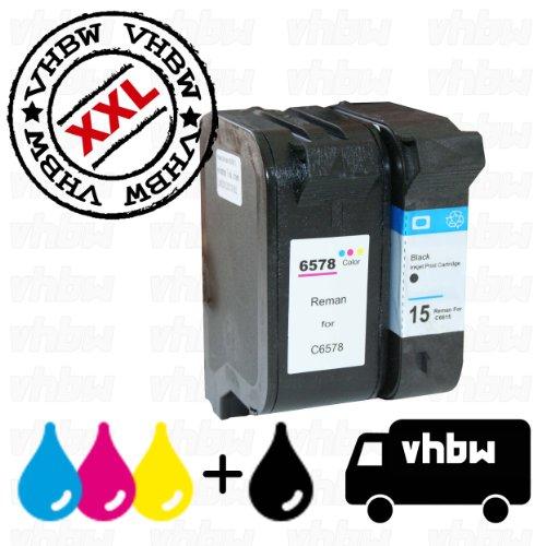 vhbw 2x kompatible Ersatz Tintenpatrone Druckerpatrone Set für Drucker wie HP 15, 78, C6615D, C6578DE.