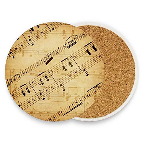 (Vintage Old Music Notes, Runde Getränke-Untersetzer aus Keramik für Zuhause, Büro, Bar, Küche (Set von 1 Stück), keramik, multi, 4er-Set)