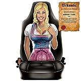 Scherzartikel - Sitzbezug für Autos Motiv Trachten Frau Bayerisches Mädel lustige Geschenkidee Autositzbezug mit lustiger Urkunde