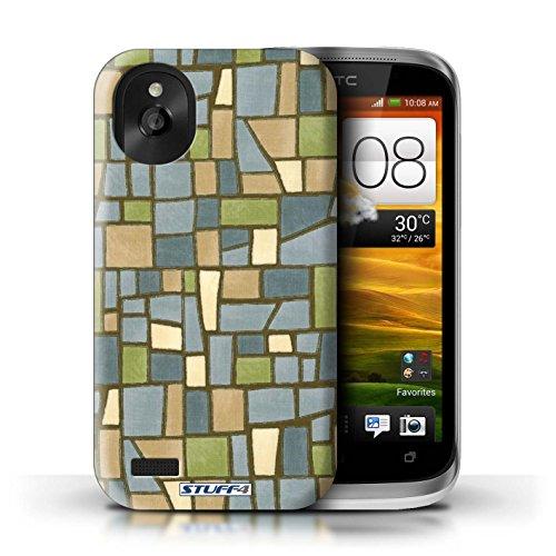 Kobalt® Imprimé Etui / Coque pour HTC Desire X / Vert/Brun conception / Série Carrelage Mosaïque Vert/Bleu