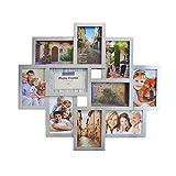 Smartfox Bilderrahmen Fotorahmen Collage für 10 Bilder im Format 10x15 cm in Silber