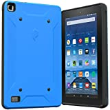 Fire 7 2015 Case, Poetic QuarterBack [Corner/Bumper Protection][Replaceable back][Dual protection]- Stylish PC+TPU Case for Amazon Fire 7 5th Gen (2015) Blue/Black