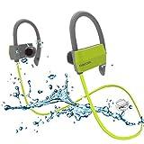 Bluetooth Kopfhörer Wireless Sport Kopfhörer IPX in-Ear Schalter Running in Ear Stereo Kopfhörer mit Mikrofon Sichere Passform für Sport, Fitnessstudio, Workout für iPhone und Android-Handys grün