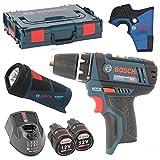 Bosch Akku-Bohrschrauber GSR 10,8-2-Li inkl. Bohrfutter + 2x Akku 2,0AH + Ladegerät AL1130CV + L-Boxx Gr. 1 + Bosch Holster + Bosch LED Akkulampe GLI 10,8 Power