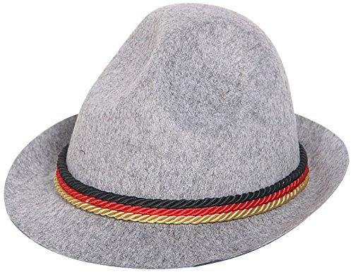 Folat 06051- Tiroler Hut  mit deutschem Band, grau (Erwachsene Weiße Tiroler Kostüme)