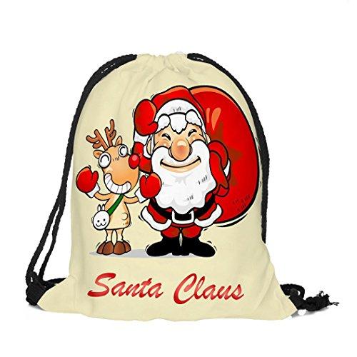 Longra Tessuto di cotone di Natale allegro Natale del tema del tema del Natale di stampa del sacchetto del Drawstring F