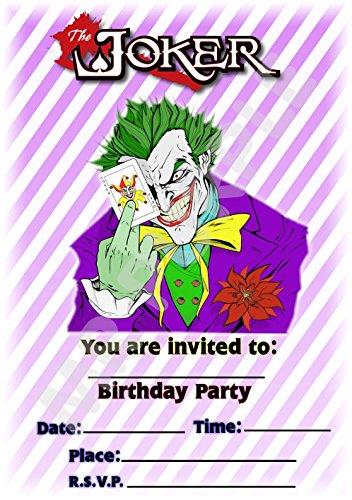 Batman The Joker Geburtstag Party lädt-gestreift Hochformat Design-Party Deko/Zubehör (12Stück EINLADUNGEN) WITH Envelopes