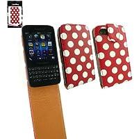 Emartbuy ® Blackberry Q5 Premium-Pu-Leder Flip Schutzhülle / Cover / Tasche Polka Dots Rot / Weiß Und Lcd Displayschutzfolie
