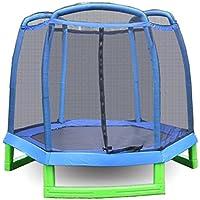 Preisvergleich für Carsge Jumping Trampolin mit Sicherheitsnetz Fitness Outdoor Trampolin Set mit Schutz 213 x 180 cm Kinder Fitness Trampolin Indoor