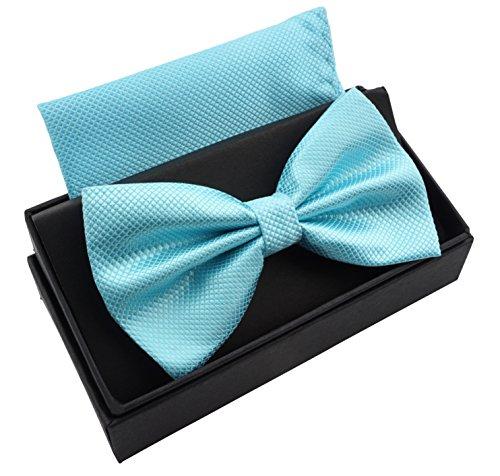 Für Kinder Kostüm Mit Hosenträger - Massi Morino ® Herrenfliegen Set mit Tuch in Türkis Männer Anzug Schleife Krawattenfliege bowtie türkisfarben türkisefliege grünblau eisgrün türkisgrün eisblau aquamarin
