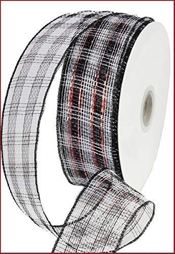 Metallic Poly Deco Mesh Band (6,3cm X 25Meter, schwarz weiß rot BUFFALO Check Metallic) Metallic-poly-mesh