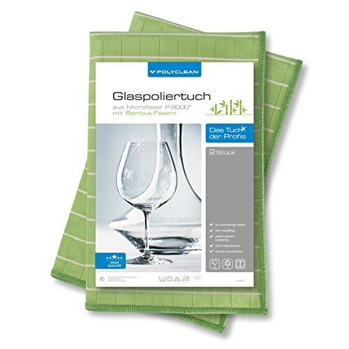 2x POLYCLEAN Glaspoliertuch - Mikrofaser-Tuch mit Bambus-Fasern für streifenfreie Gläser, Fenster und Spiegel (60 x 40 cm, Grün, 2 Stück)
