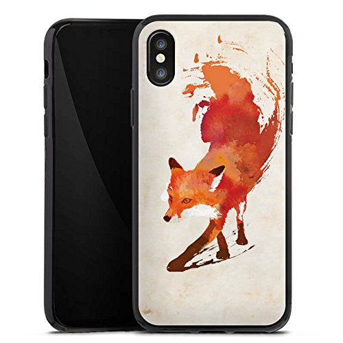 Apple iPhone 6s Tasche Hülle Flip Case Fuchs Vulpes Art Silikon Case schwarz