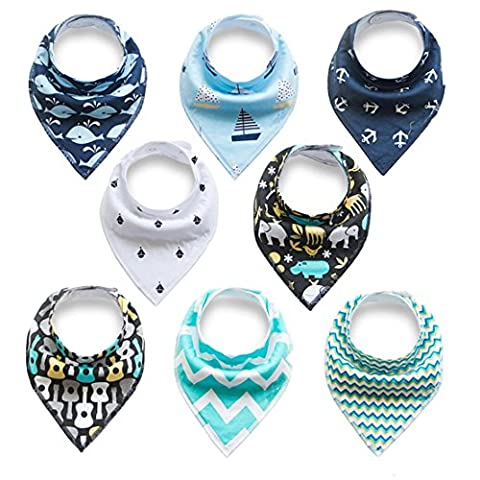 Baby Bandana Drool Bibs With Snaps (8 Pack) For Boys and Girls - Super Absorbent, Soft and Modern - Best Baby Shower Gift (BC074)