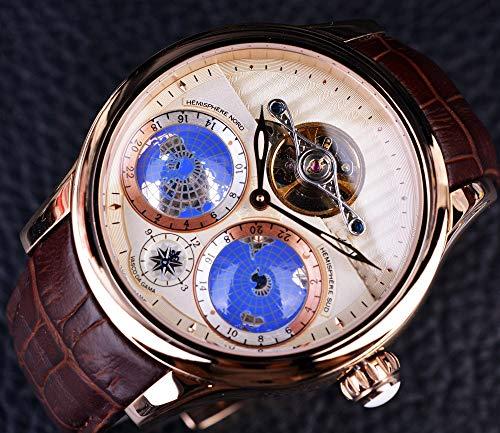 Liandd Echtes Tourbillon Rose Gold Klassische mehrdimensionale Designeruhr Herren Luxusmarke Automatikuhr Uhr,