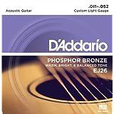 D'Addario Cordes en Bronze Phosphoreux pour Guitare Acoustique avec Revêtement D'Addario EJ26 Custom Light 11-52 1-Jeux