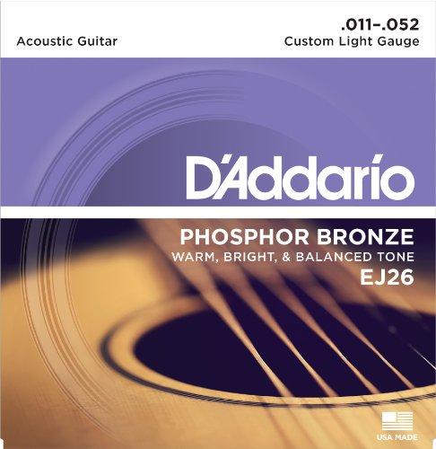 D'Addario EJ26 - Juego de cuerdas para guitarra acústica de fósforo/bronce, 011' - 052'