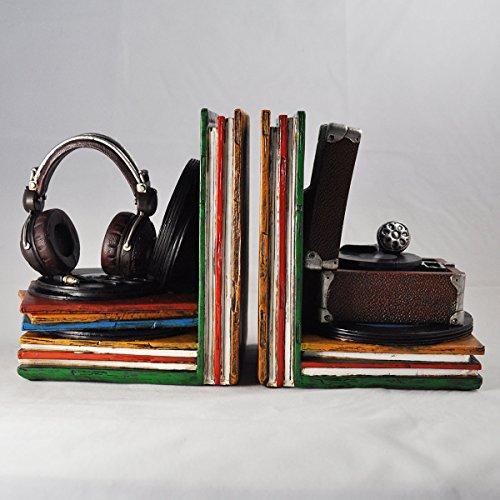 Von Hand Bemalt, Sind Mit Schreibtischen (Vinyl Record Player Buchstützen Regal Ordentlich schwere Office Home Einzigartiges Vintage-Hipster Decor für Bücher, DVDs, Vinyl-Aufbewahrung)