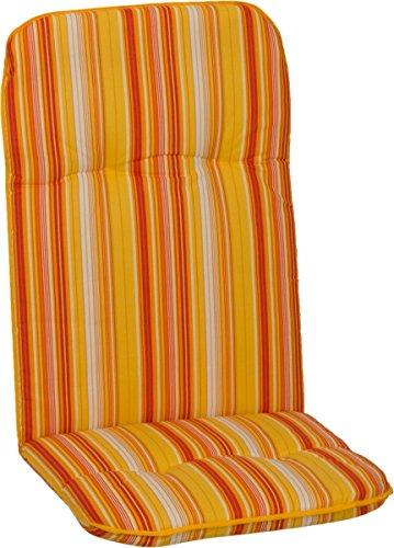 Beo Hochlehner Gartenstuhlauflage ca. 114x47 cm 5 cm Streifen Gelb Orange Weiss