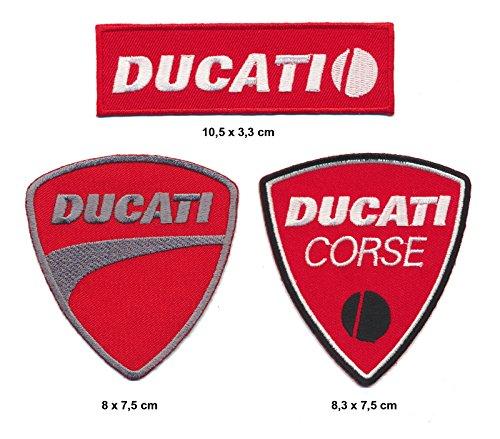 Toppa con marchio Ducati, 3 pezzi, ideale per motociclisti, marchio italiano